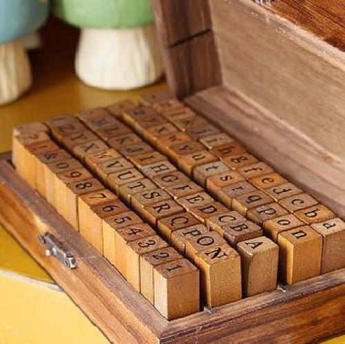 Stempelset Alphabet Buchstaben gross klein & Zahlen B-Ware