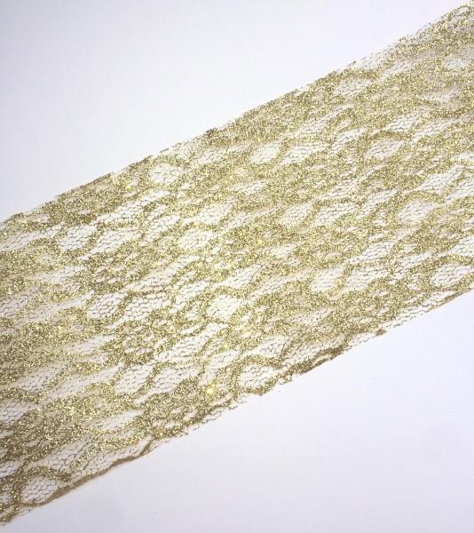 goldene Spitze 15cm breit Tischband Lace Glitzer