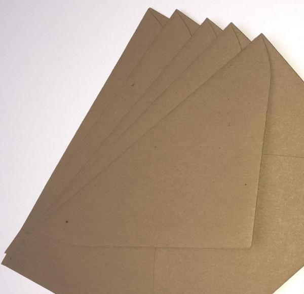 5 Briefumschläge quadr. 16x16cm Kraftpapier Kuverts