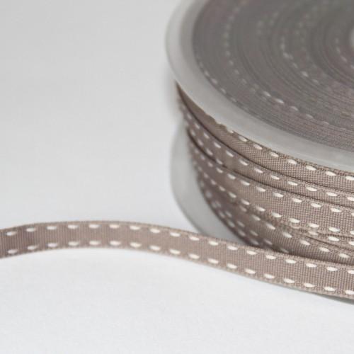 Dekoband TAUPE Sattelstich stitches weiss 10mm