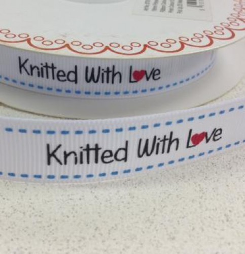 """Etiketten """"knitted with love"""" Rolle 3 Meter Label weiss"""