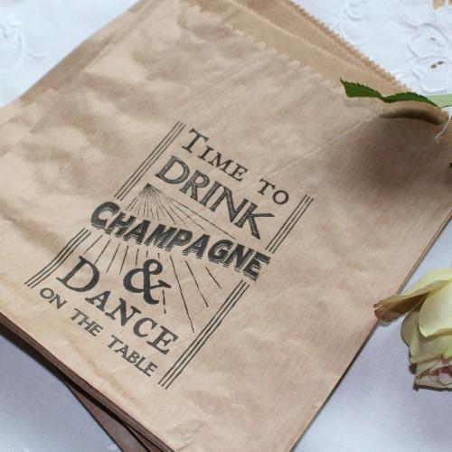 40 Kraftpapiertüten vintage Wedding TIME TO DRINK CHAMPAGNE