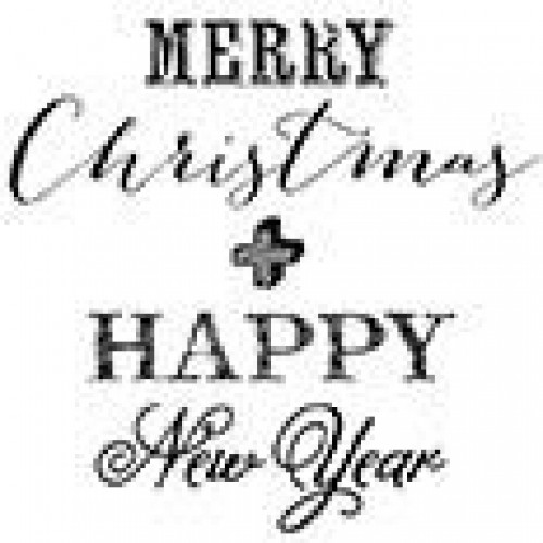 "runder Text-Stempel ""Merry Christmas & HAPPY New Year"""