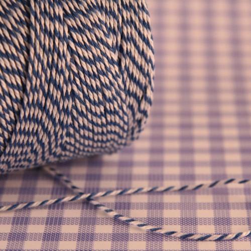 dünnes Baumwollgarn blau / weiß 2fädig