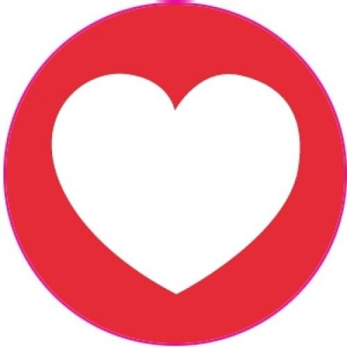 10 Herz Sticker Etiketten rot weiss