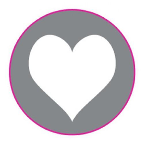 10 Herz Sticker Etiketten silber weiss