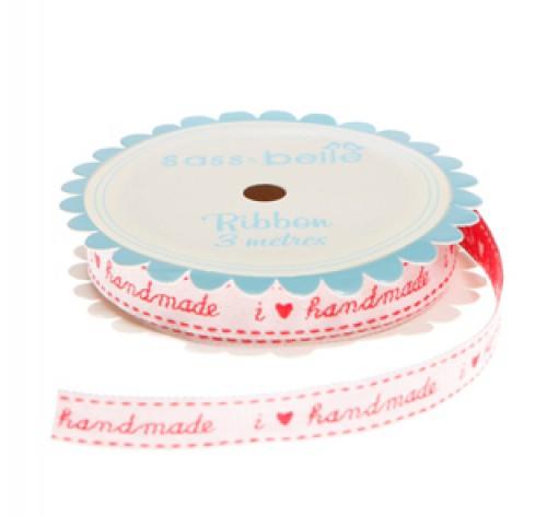 """Webband """"I love handmade"""" rot Rolle 3 Meter"""