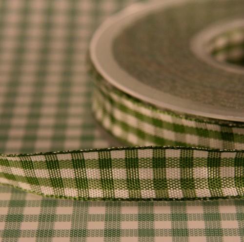 Schleifenband Bauernkaro grün / weiss kariert 14mm Landhaus