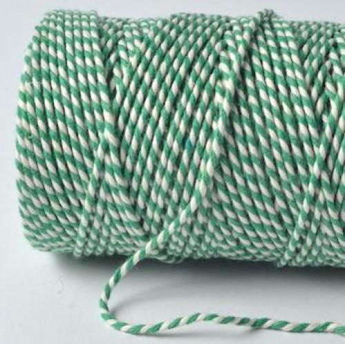 Bakerstwine Rolle Garn smaragd-grün weiss 20m