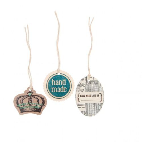 6 Geschenkanhänger vintage KRONE handmade