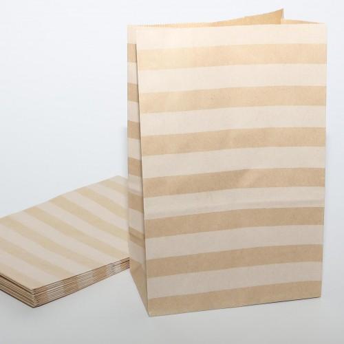 10 Papierbeutel Kraftpapier Streifen hor.