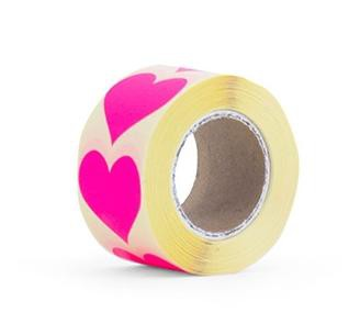 10 Herz Sticker neon pink 35x35mm