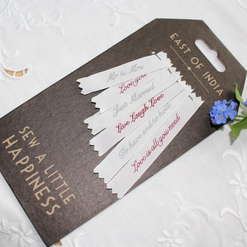 """Wäsche-Etiketten """"Just Married"""" Hochzeit 6 Motive"""