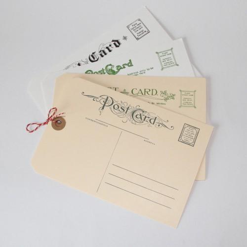nostalgische intern. Postkarte / Paketanhänger 4 Stk