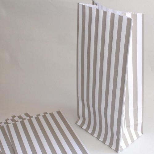 5 Stk Papiertüten Streifen grau weiss