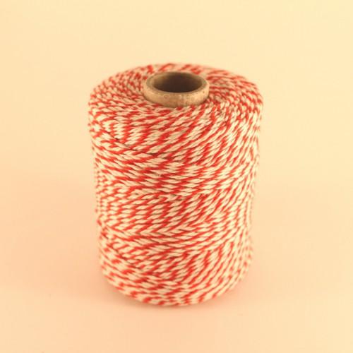 Baumwollgarn Rolle Kordel rot / weiß 3fädig 2mm 150m