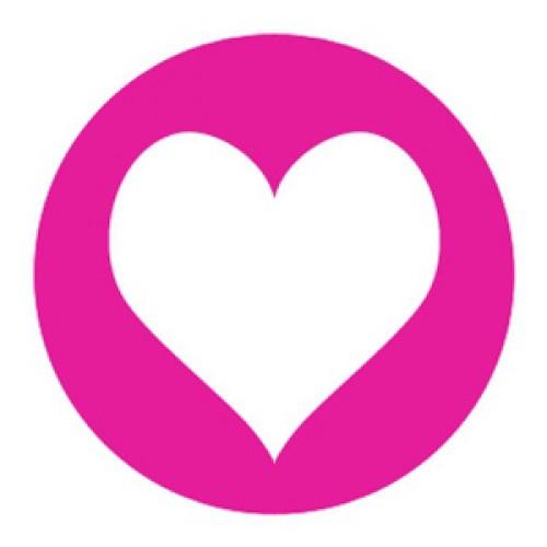 10 Herz Sticker Etiketten pink weiss
