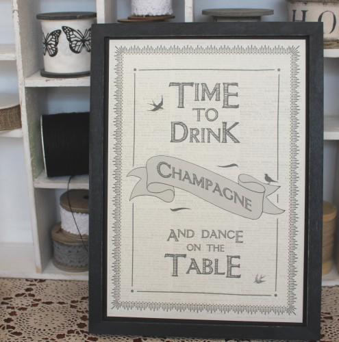 Bild Schild TIME TO DRINK CHAMPAGNE vintage klein