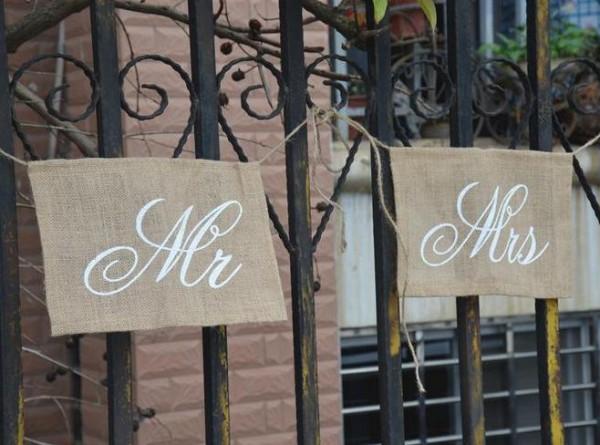Stuhldeko Hochzeit Mr Mrs Jute
