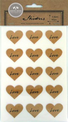 60 Sticker LOVE Kraft Herz
