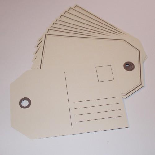 10 Paketanhänger Postkarte 10x15cm creme