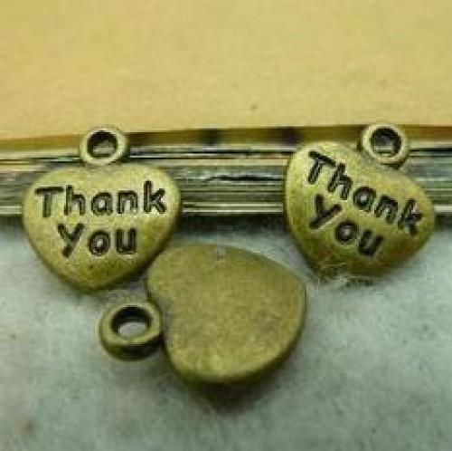 10 kl. Anhänger Herz THANK YOU bronze