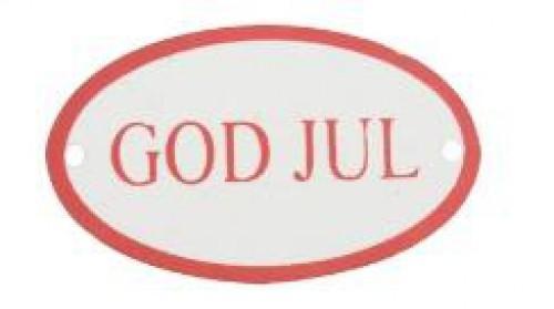 "kleines Metallschild ""God Jul"" oval rot"