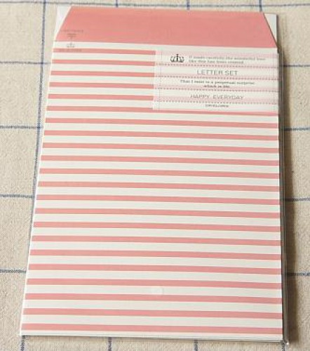Briefpapier Stripes rosa weiss gestreift