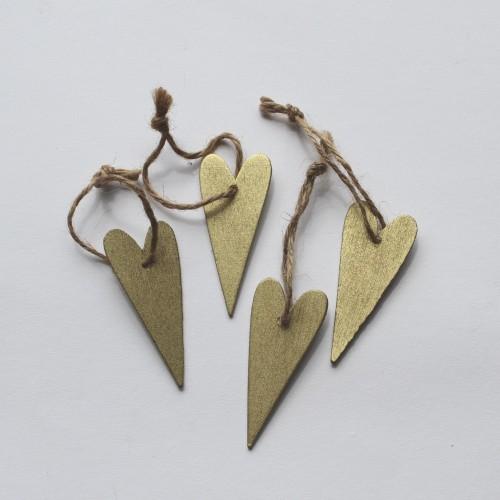 kleine Geschenkanhänger Herz aus Holz gold, 4 Stk