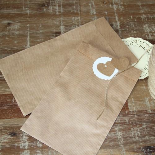 10 flache Papiertüten aus geripptem Kraftpapier 13x18cm