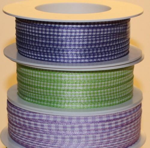 Schleifenband Vichykaro lila / weiss kariert 5mm