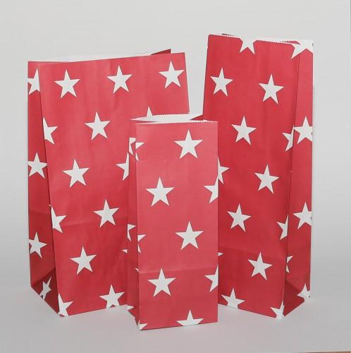 5 Stk. hohe Papierbeutel rot mit weissen Sternen