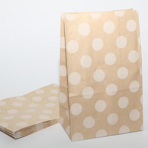 10 Papierbeutel Kraftpapier Punkte