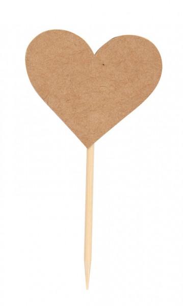 10 kleine Fähnchen Herz Pick Kraft braun