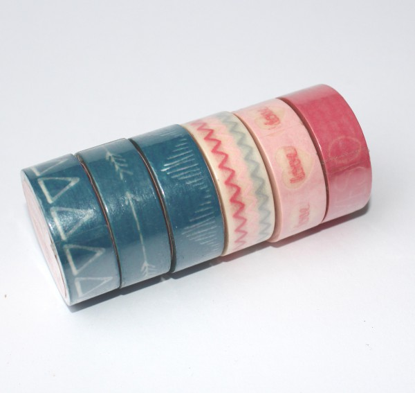 6 x Masking Tape LOVE Arrow rosa blau