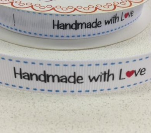 "Etiketten ""handmade with love"" Rolle 3 Meter Label weiss"