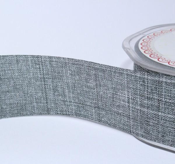 breites Dekoband Leinenoptik Jute 4cm dunkelgrau