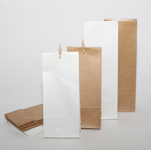 10 Papierbeutel Kraftpapier weiss gerippt
