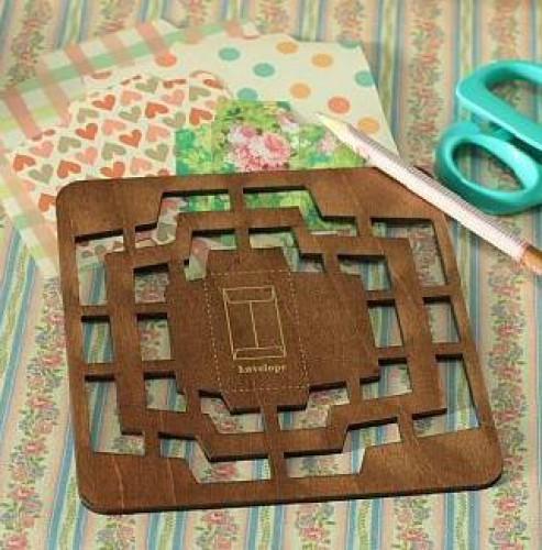 Holzschablone für kleine Umschläge 4 Grössen
