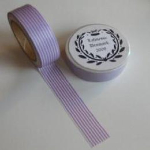 Washi Masking Tape lila weiss Stripes