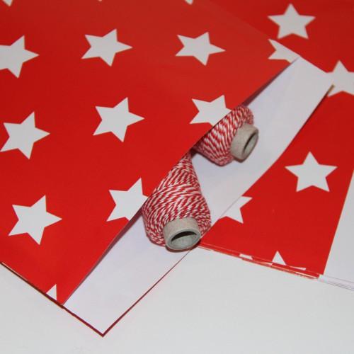 10 Papiertüten Stern rot mittel