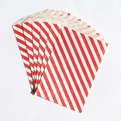 Papiertüten weiß mit roten Streifen