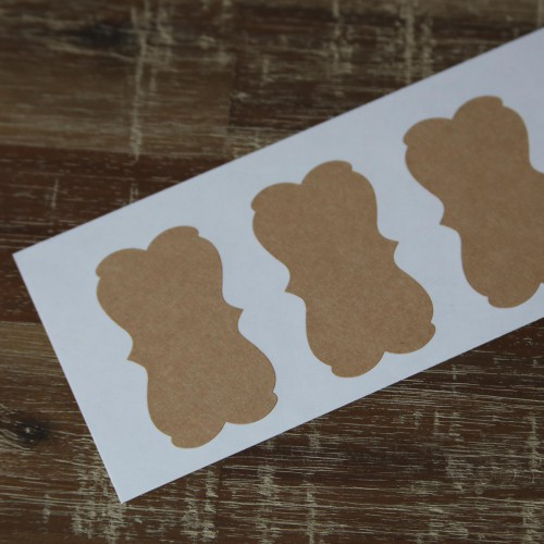 6 Sticker Label Bracket Kraft 57 x 32 mm