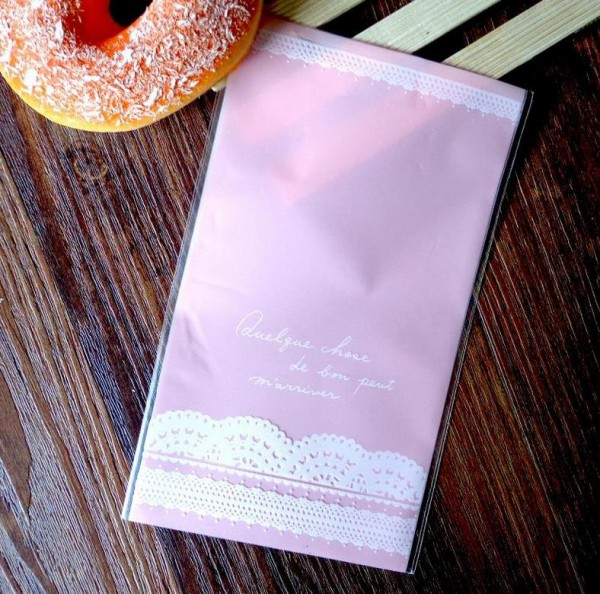 10 Cellophantüten LACE rosa für Kekse Gebäck gross