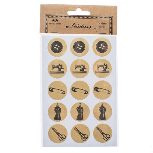 60 Sticker SEWING handmade Kraft rund