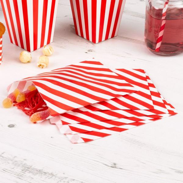 25 Papiertüten rot weiss gestreift Candy