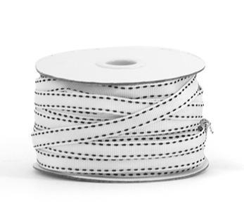 Schleifenband Rips schwarz weiß stitch