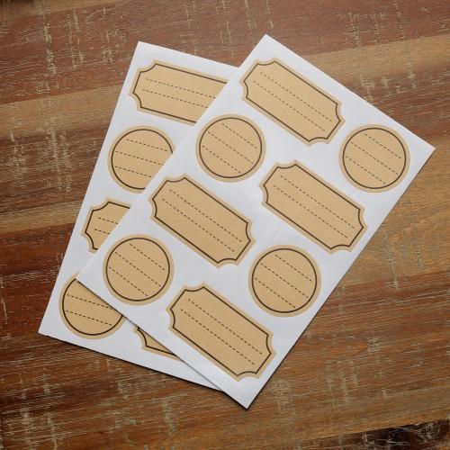 16 kleine Sticker Kraft mit Rahmen