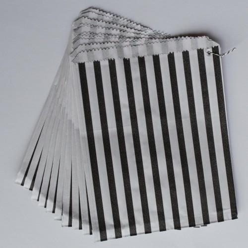 Papiertüten schwarz weiß gestreift, groß 10 Stk