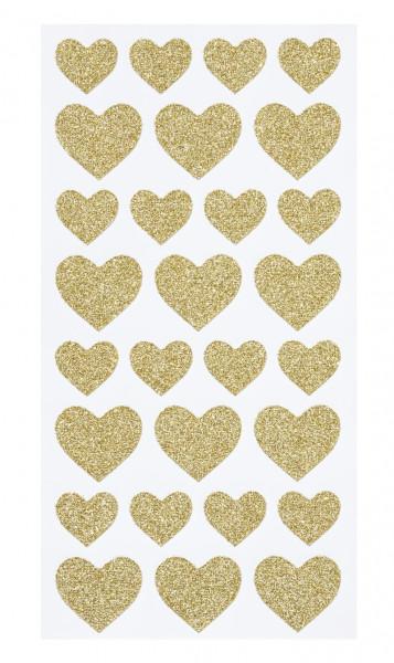 Sticker Herzchen gold glitzer 28 Stk